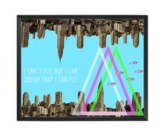 Collage digital I can't fly... de Poppy Girl Illustrations por DaWanda.com