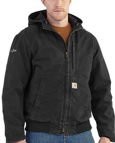 "Carhartt Men's Full Swing Black Sherpa-Lined Sandstone Active Jacket ""full range of arm motion"" ""bi-swing back"" ""Rugged Flex"" ""4-way stretch"" #Fall2015 ""toughest work clothes"" workwear ""gifts for cowboys"" ""gifts for men"" drysdales.com western menswear for cowboys"