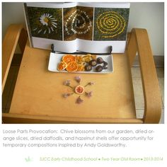 Loose parts provocation in 2-3 year old classroom. Reggio Inspired Practice.
