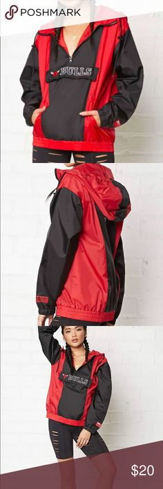 Chicago Bulls Logo Anorak Forever 21 Women's Red Nba Chicago Bulls Logo Anorak. Not much stretch. Not very thick. Perfect for cool weather. Forever 21 Jackets & Coats