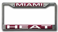 NBA Miami Heat Laser Chrome Frame by Rico. $17.05. Team Name Laser-Cut into Acrylic and Hand-Assembled. Chrome License Plate Frame with Laser-Cut Acrylic Insert. Easy to Mount Around License Plate. Zinc Metal Frame Resistant to the Elements. Showcase your team spirit when you're on the road with this officially licensed RICO NBA team laser chrome license plate frame. The 6-in x 12-in frame is decorated in the team colors and designed with acrylic team inserts at the top and bottom.