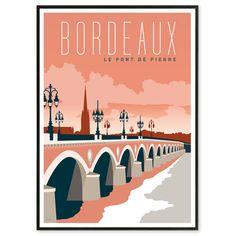 Les Affichistes-The Stone Bridge Bordeaux Poster Art Deco Illustration, Travel Illustration, Retro Poster, Poster Vintage, Vintage Travel Posters, Poster City, Poster S, Poster Prints, Art Print