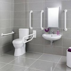 We need one of these  White Doc M Pack Disabled Bathroom Toilet, Basin and Grab Rails