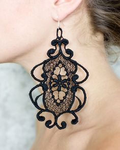 Lace earrings  Looking Glass  Black by thisilk on Etsy, $36.00