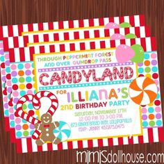 http://mimisdollhouse.com/product/candyland-invitation/  Candyland Invitation  The Candyland invitation is personalized to include Name, Age, Date, Time, Location, and RSVP and photo (optional).  The Candyland invitation is available in printable JPED and PDF formats.  A coordinating decorations package is available for this theme: http://mimisdollhouse.com/product/candyland-party-printable-collection/  #CandyLand #CandyLandInvitation