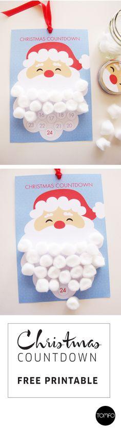 Christmas countdown printable. Stick cotton wool balls onto the Santa's beard every day until Christmas.