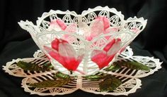 Lace Bowl & Doily Pink Magnolias Featured on the cover of Machine Embroidery Magazine  Pink Magnolias, white lace and rich green leaves - a very romantic combination. This bowl and doily are taken from artwork by Pierre-Joseph Redoute, the most celebrated artist in the history of botanical art. I took the liberty of changing the creamy white magnolia to pink, but I think it would be equally beautiful done in the original cream shades. Featured on the cover of Machine Embroidery Magazine