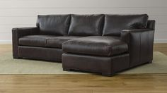in Dark teal blue Axis II Leather 2-Piece Sectional Sofa   Crate and Barrel