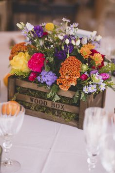 Vibrant Flower Filed Rustic Box Centrepiece | L'Avellana Tarragona Spain Wedding Venue | Outdoor Wedding | F2 Studio Photography | Focuslab Videography | http://www.rockmyweddingco.uk/marta-pablo/