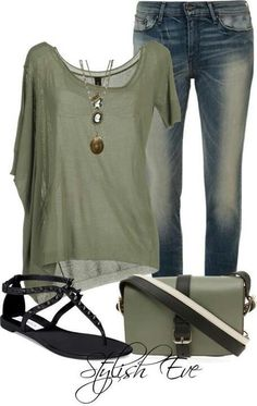 Olive and denim outfit