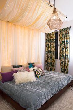 Diy canopy, canopy bedroom, fairylights bedroom, bedroom lighting, home bed Curtains Behind Bed, Canopy Curtains, Canopy Bedroom, Diy Canopy, Diy Bedroom, Curtains On Wall, Canopy Over Bed, Metal Canopy, Bedroom Decor