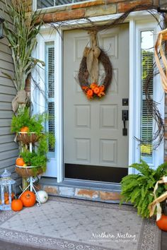 Fall Front Porch Ferns and Greenry