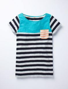 Stripy Colourblock Tee WL827 Short Sleeved Tops at Boden