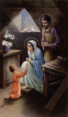 Joesph, Mary and Jesus Catholic Prayers, Catholic Art, Catholic Saints, Religious Art, Roman Catholic, Religious Pictures, Jesus Pictures, Madonna, Vintage Holy Cards
