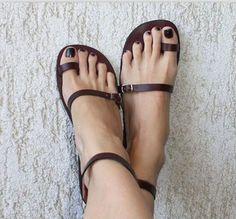 Women Sandals Bandage Style Shoes Flat Sandals Brown Sandals
