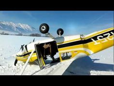 Emergency Landing  A small plane makes an emergency crash landing in a snowy field