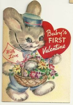 VINTAGE RUST CRAFT BOSTON BABY'S FIRST VALENTINE CARD USED PRINTDATE 1948