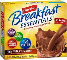 Carnation Breakfast Essentials, Rich Milk Chocolate Powder, 10 Count: Ten single serve envelopes in one box the calcium of one cup of Yogurt; the Vitamin D of one 8 fl oz glass of milk Breakfast Drinks Healthy, Breakfast On The Go, Healthy Drinks, Breakfast Recipes, Gourmet Recipes, Snack Recipes, Snacks, Carnation Instant Breakfast, Nutrition Drinks