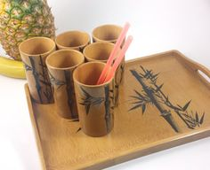 Vintage Bamboo Tiki Drink Set 6 Cups and Tray by RNDvintagetraders