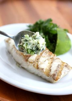 Grilled Halibut w/ Herbed Lime Butter