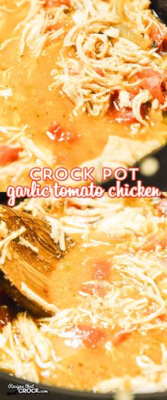 This Crock Pot Garlic Tomato Chicken has an amazing flavor and is so easy! This is definitely a meal you can put on while running out the door!