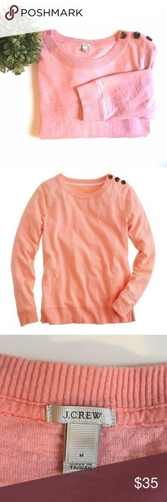 J. Crew Pink Button-Sweater PRODUCT DETAILS Here's a bright idea: recreating our favorite shrunken sweatshirt in a cool faded neon. Constructed in dense knit cotton (for a lean fit that keeps its shape) and finished with a slew of clever accents like anchor-embellished tortoise buttons. Great condition!  Cotton. Slim fit. Machine wash. Import. Item 16720. J. Crew Sweaters Crew & Scoop Necks