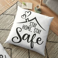 'Stay home, stay safe ' Floor Pillow by Zsuskaa Floor Pillows, Throw Pillows, Word Art Design, Acrylic Letters, Dogs Of The World, Typography Poster, Stay Safe, Pillow Design, Funny Stuff