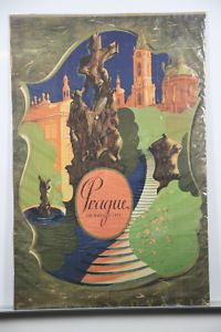 Prague Baroque Original Vintage Travel Poster 1930's