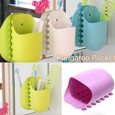Wall Sucking Kangaroo Pocket DORM Bathroom Toothbrush Stuff Holder Sucker Organizer | eBay £2