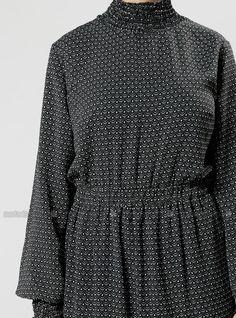 Desenli Elbise - Siyah - Refka