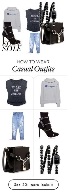"""""""casual day"""" by tenia-norris-fleming on Polyvore featuring Champion, Alexander Wang, Valentino, Chanel, contestentry and nyfwstreetstyle"""