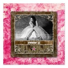 Sweet 16 Vintage Photo Card Star Pink Custom Announcements great for Grad announcement also!