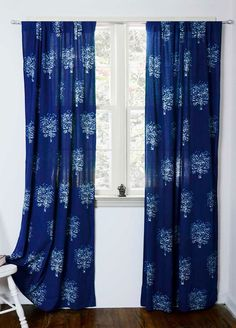 "Indigo blue curtain, window curtains bedroom curtains bohemian boho decor housewares ONE panel 44"" x 96""L  block print - TREE by Ichcha on Etsy https://www.etsy.com/listing/204415005/indigo-blue-curtain-window-curtains"