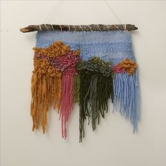 "May Hunt — ""Springtime treetops"" hand woven wall hanging"