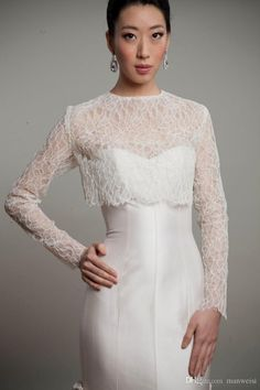Long Sleeve Bridal Jacket Bolero Jewel Neck Lace Appliqued Custom Made Wrap Bride Accessories For Wedding Dress Jackets From Manweisi