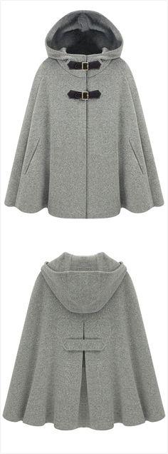 Oh my gosh I want | Women's Winter Wool Blend Hooded Cape Cloak Coat