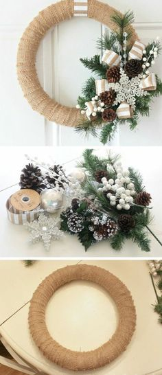 Diy christmas wreaths 246149935871919190 - 36 Creative Christmas Wreath Ideas That Will Beautify Your Day – GoodNewsArchitecture Source by danapaul Christmas Wreaths For Front Door, Homemade Christmas Decorations, Christmas Door Decorations, Xmas Wreaths, Diy Christmas Ornaments, Rustic Christmas, Simple Christmas, Burlap Wreaths, Christmas Trees