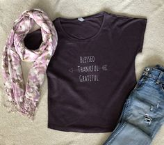 Blessed Thankful Grateful, Tees, Fabric, Cotton, How To Wear, Women, Fashion, Tejido, Moda