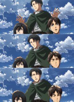 Levi and.his brats Eren Aot, Eren And Mikasa, Ereri, Attack On Titan Fanart, Attack On Titan Levi, Anime Manga, Anime Art, Atack Ao Titan, Otaku