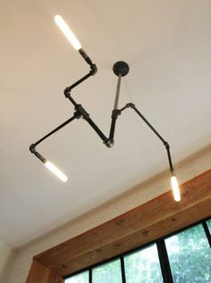 cool lighting idea with pipes