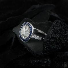 3.04 Carat Diamond and Sapphire Engagement Ring. Antique Old European Cut Diamond surrounded by Ceylon Sapphires. Estate Diamond Jewelry