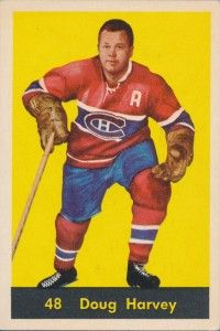 Highlights, stats and hockey card info for Doug Harvey. The Hall of Fame defenseman played NHL hockey with the Canadiens, Rangers, Red Wings and Blues. Hockey Shot, Ice Hockey, Youth Hockey, Hockey Teams, Montreal Canadiens, Nhl, Rangers Hockey, Canadian Football, Hockey Cards