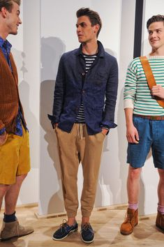 J.Crew Mens Spring 2013! :) I especially like the right look with the boots, pink socks and shorts