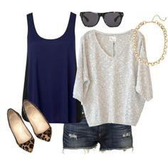 Blue sleeveless shirt, grey loose sweater, shorts and cheetah shoes