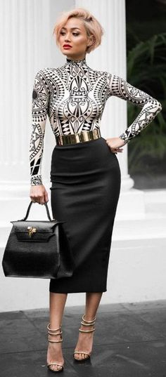 actec printed top with pencil skirt work outfit