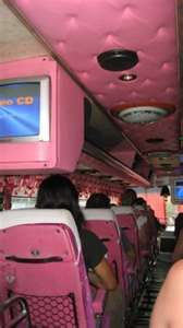 inside of a pink airplane!
