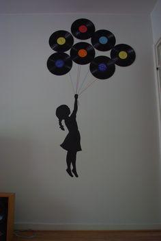 Home Music Rooms, Old Vinyl Records, Cd Art, School Displays, Banksy, Vinyl Art, Art School, Kids Rooms, Apartment Ideas
