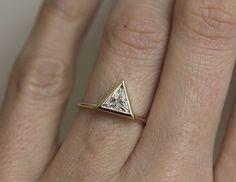 0.75 carat Trillion Diamond Ring Triangle Diamond by capucinne