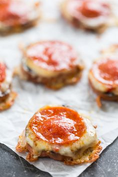 Sweet Potato Pizza Bites | 1 large or 2 small sweet potatoes; 1-2 Teaspoons olive oil or avocado oil; 5 Tablespoons marinara sauce; 1 cup grated, packed mozzarella, weighing 2-3 ounces; 15 slices of pepperoni, about 2 ounces