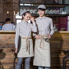 fall/winter overalls long sleeve waiter work clothing Cafe shop fashion hotel uniforms femininas waterproof shirts free shipping